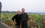 randy-and-kitaro-in-china-lotus-leaves-in-background